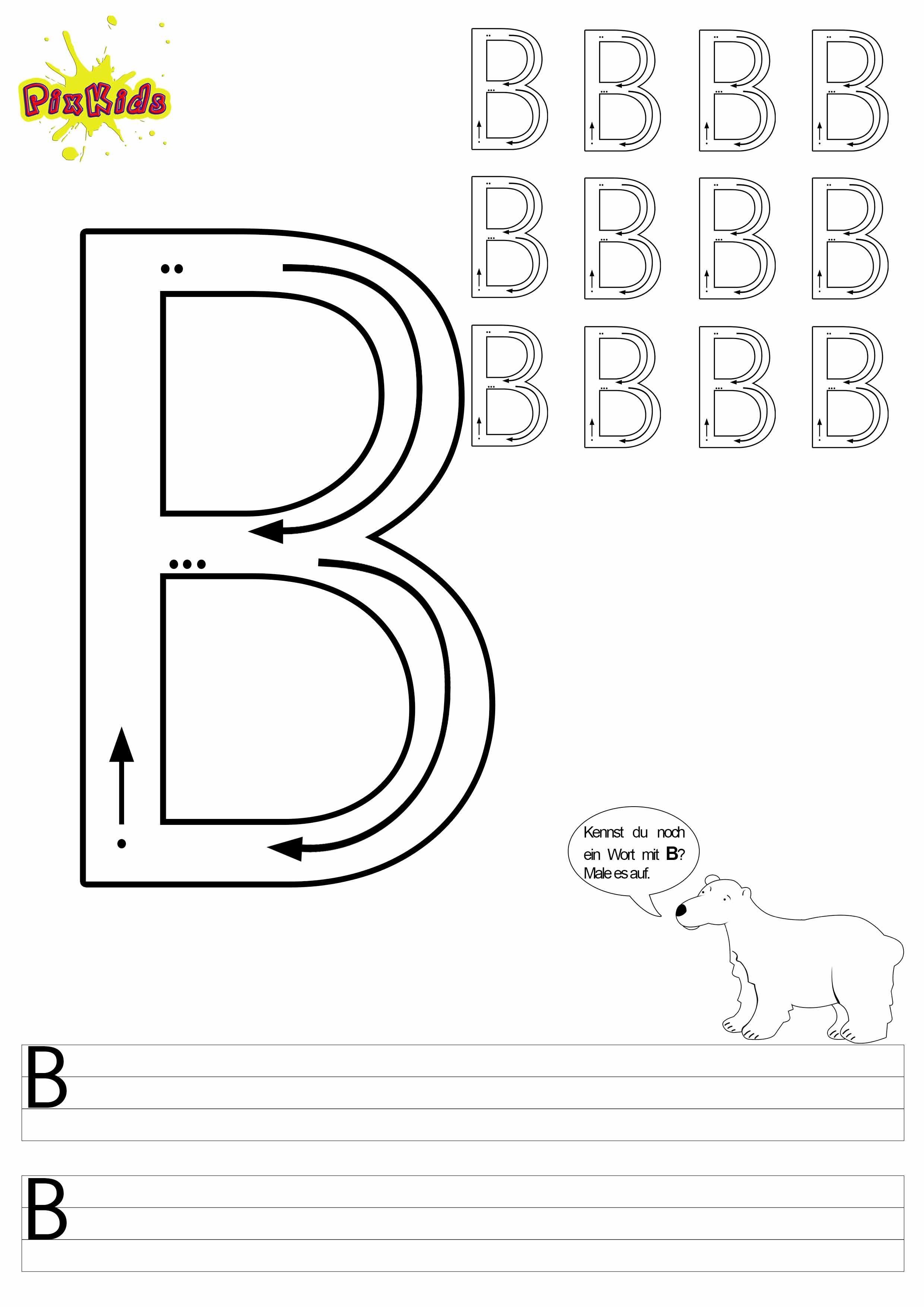 Buchstaben Schreiben Lernen Arbeitsblatter Buchstabe B