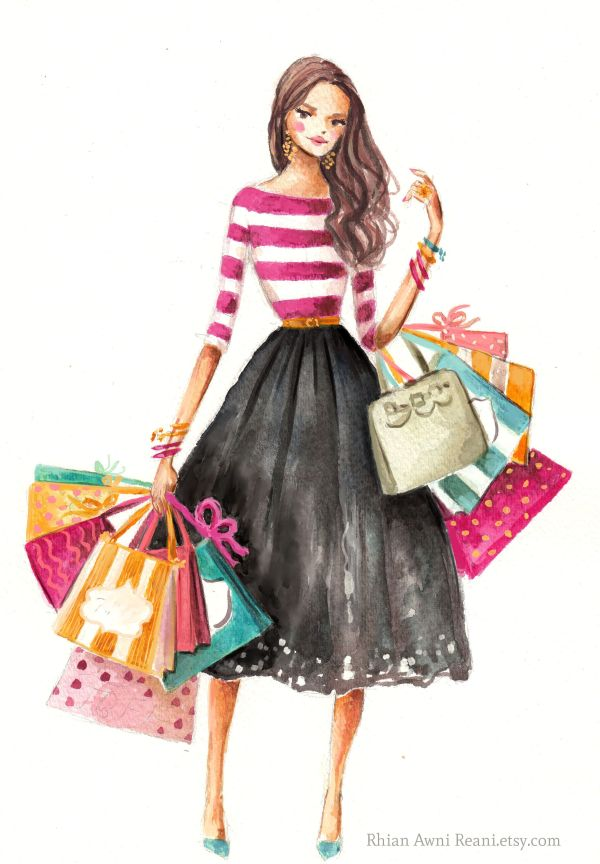 Fashion Illustration Girl Shopping Rhian Awni