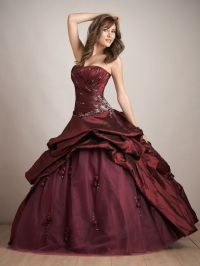 Awesome Ball Gown Wedding Dresses : Maroon Color Long Prom ...