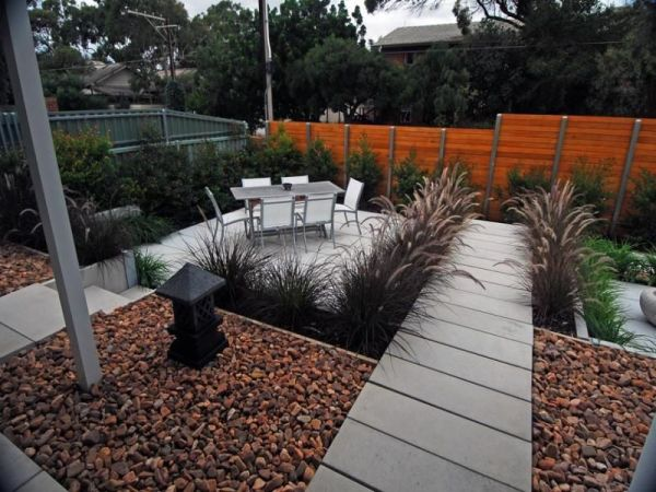 easy maintenance modern backyard