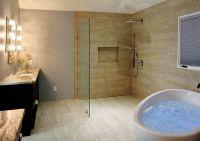 Bathroom design idea | Massage bathtub | Open shower ...