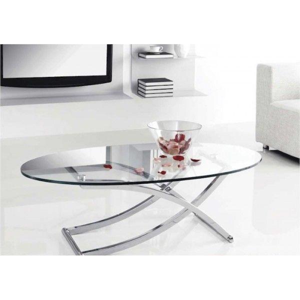 mesa de centro ovalada cristal