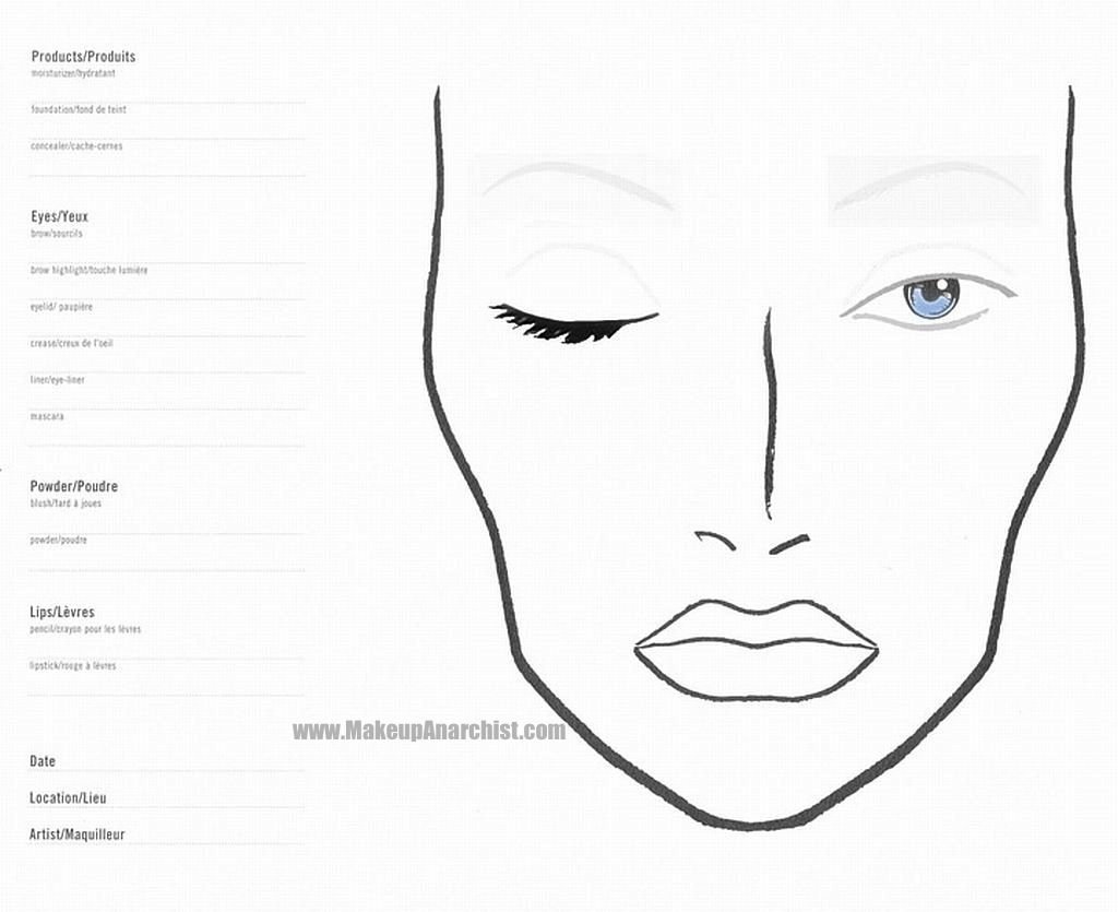 Blank face chart, for designing makeup for upcoming events