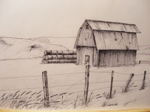 Print Pen And Ink Drawing Of Oregon Hay Barn 81 2 Drawings