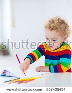 Cute little boy doing homework reading  book coloring pages writing and painting also rh pinterest