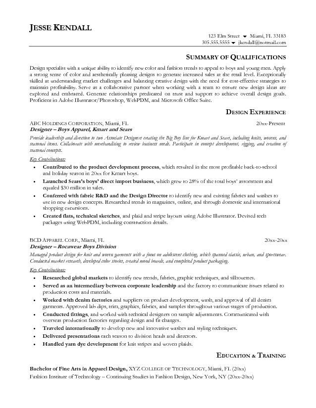 Resume Objective Examples Fashion Industry. Resume. Ixiplay Free ...