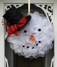 snowman wreath ideas deco mesh snowman wreath easy diy ...