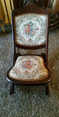Vintage American Wooden Folding Rocking Sewing Chair ...