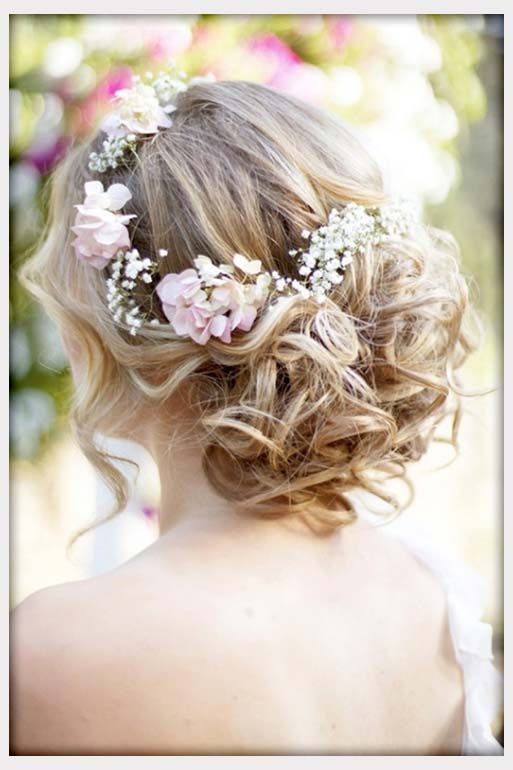 Wedding Flowers Wavy Curly Updo Wedding Hairstyle With Flower