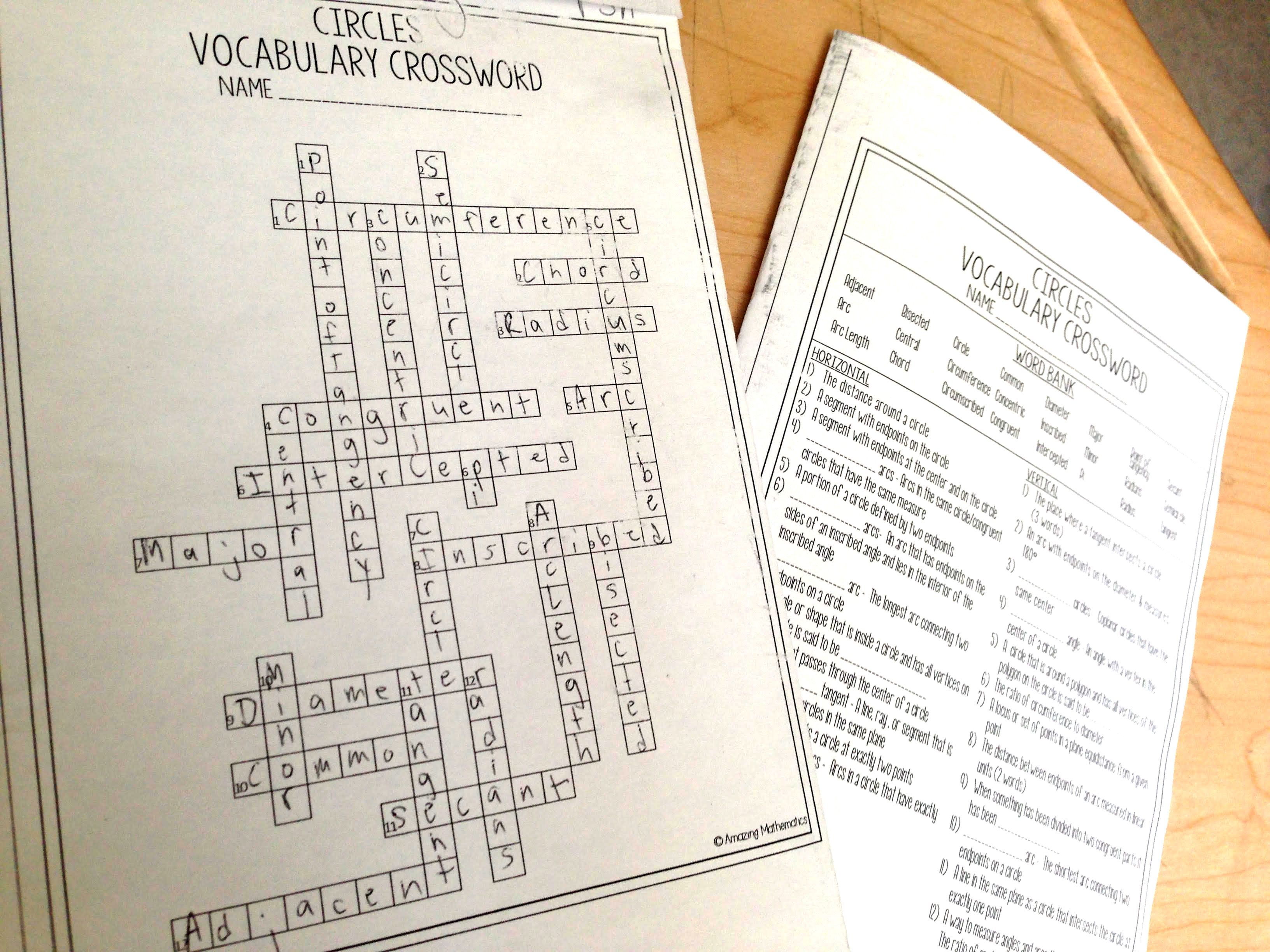 Circles Vocabulary Crossword