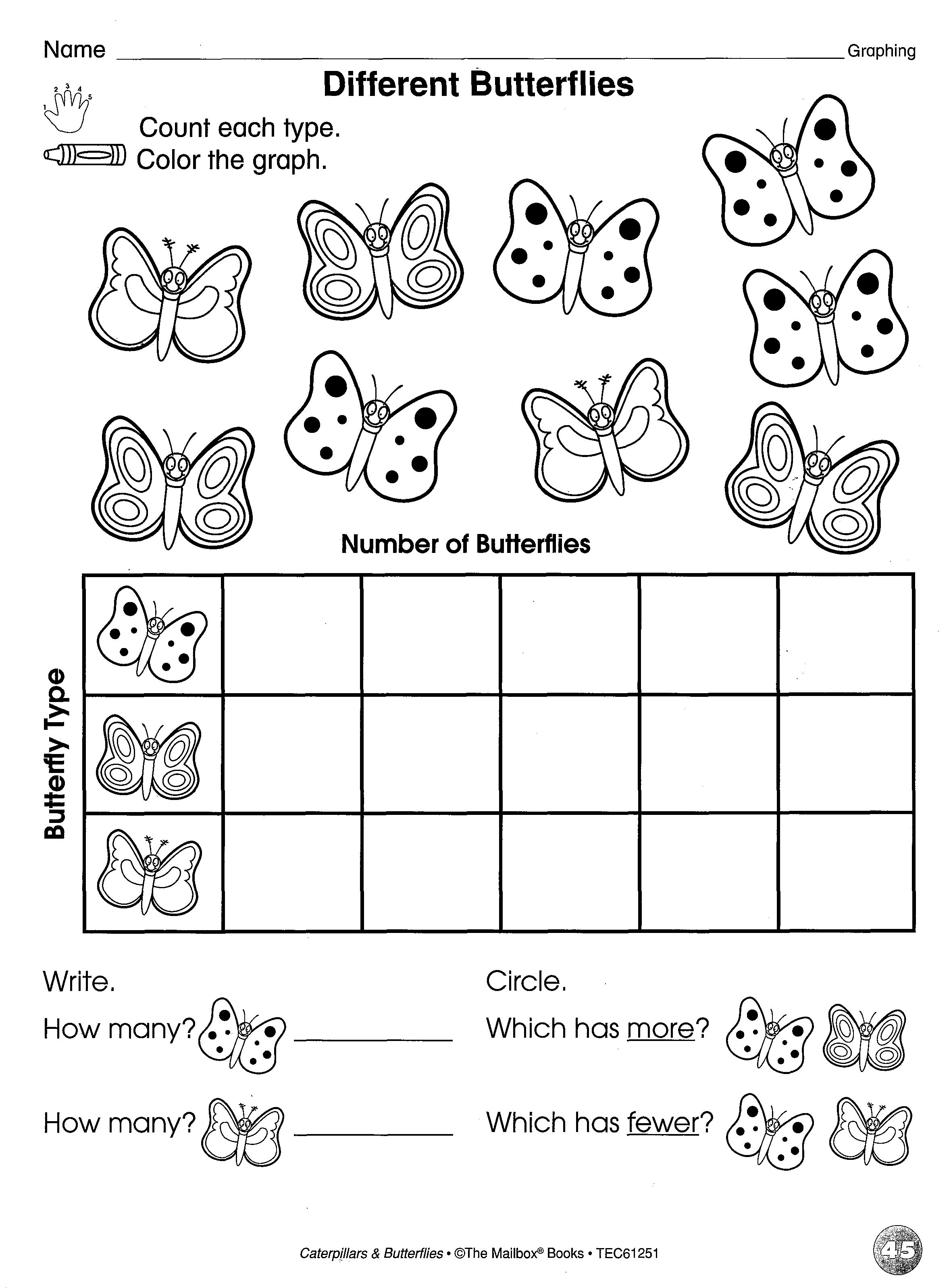 Butterfly Reproducible Page That Reinforces Counting Amp Graphing Skills Taken From Caterpillars