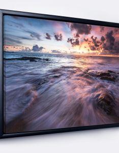 Design art designart  waves hitting rocky beach photo framed canvas print also rh pinterest