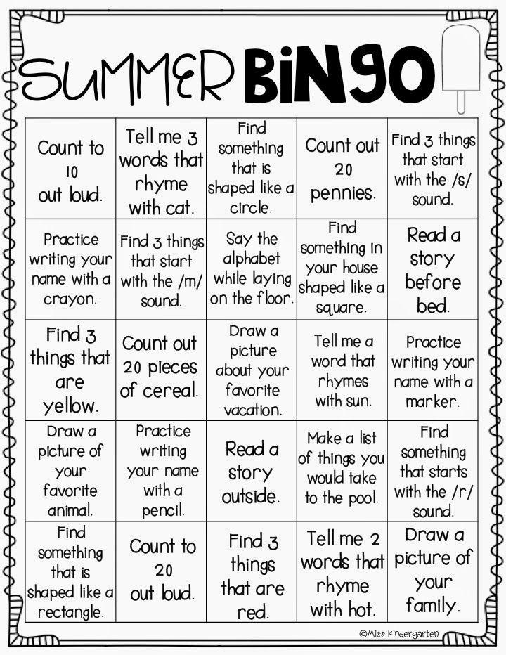 Miss Kindergarten: On My Way to K! {summer bingo} Perfect