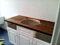 DIY Rustic Wood Vanity Top: http://sharktails.ca/2016/01 ...