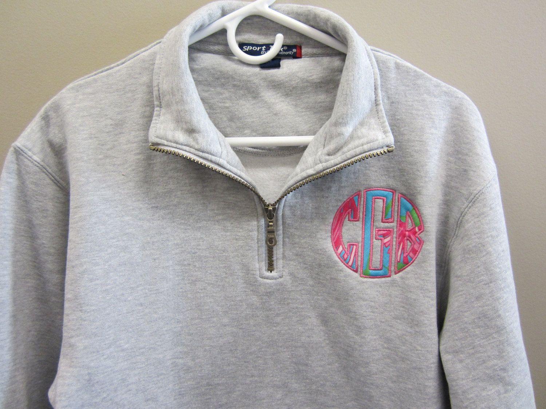 monogrammed half zip pullover sweatshirt