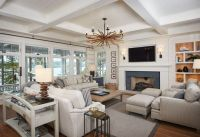 Lakehouse living room with shiplap walls, shiplap ...