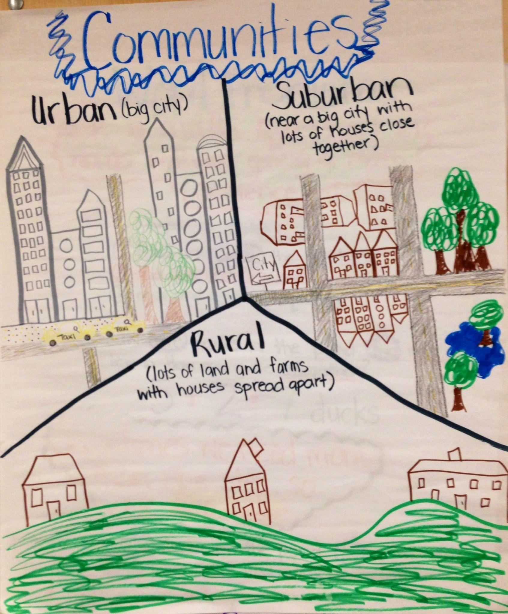 Communities Anchor Chart Second Grade Urban Suburban Rural