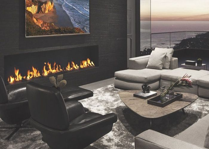 Contemporary living room with gas fireplace also salon pinterest