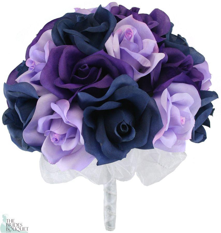 Navy Blue Lavender and Purple Silk Rose Hand Tie 2 Dozen