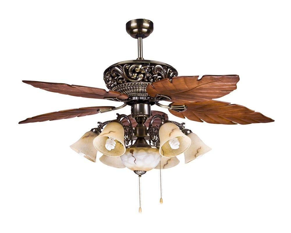 Large Tropical Ceiling Fan Light with 5 Maple Leaves Blade