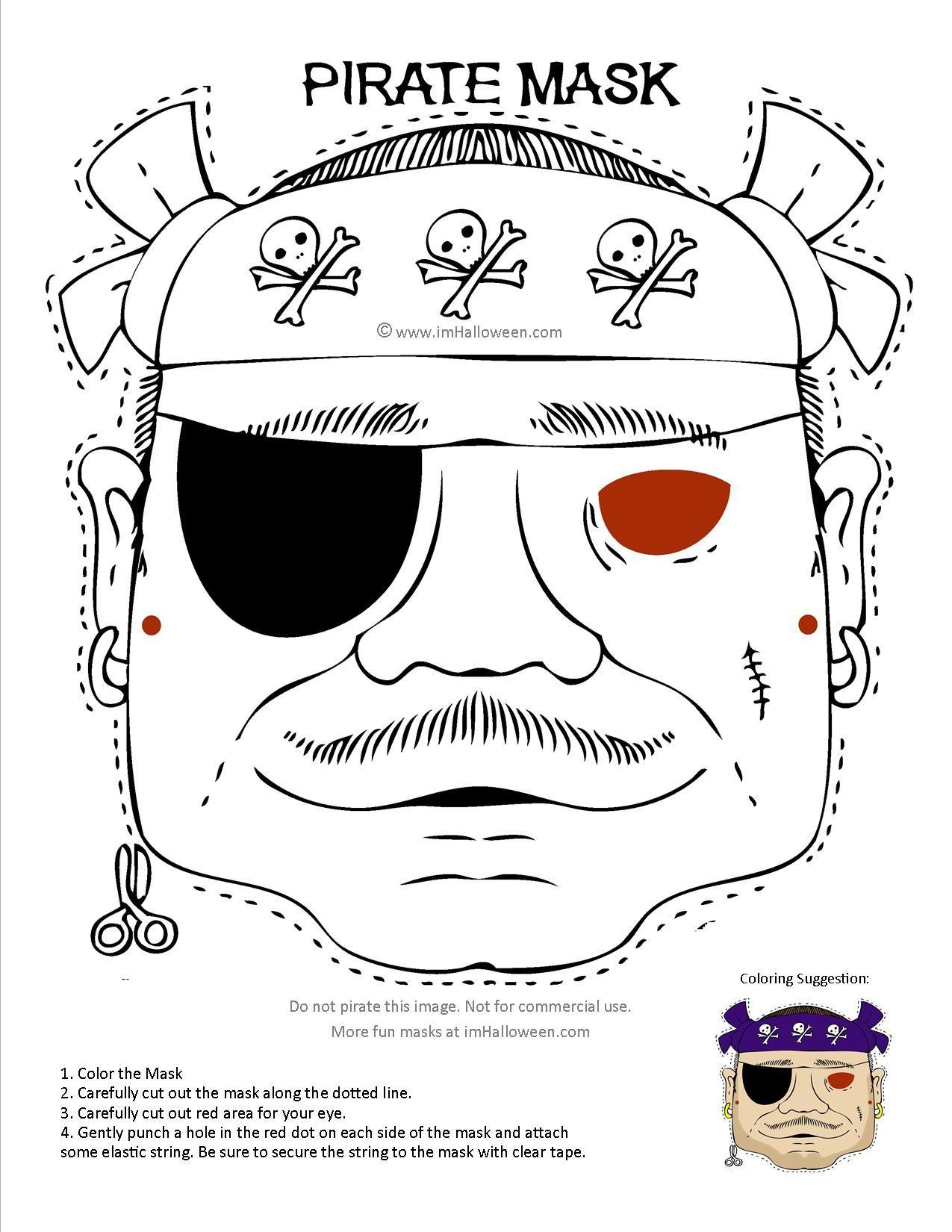 Pirate Mask Coloring Page Printout More Fun At