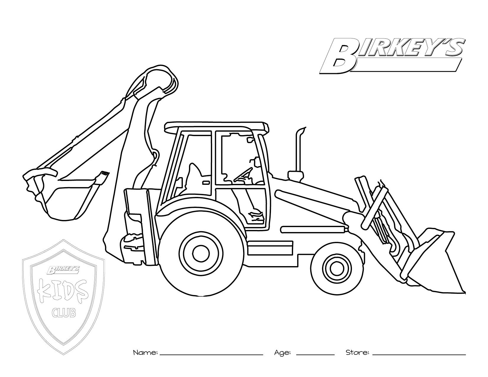 Tractor Backhoe Coloring Page