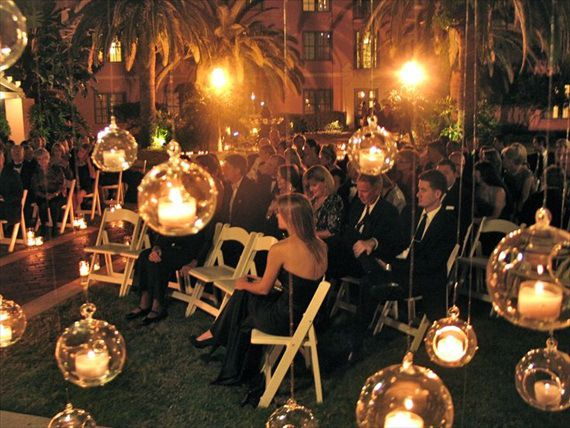 Night Wedding Ideas Hanging Glass Orbs With Battery Operated