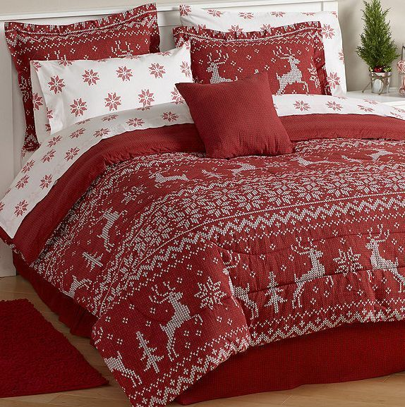 Christmas Holiday Red Reindeer Sweater Bedding Comforter