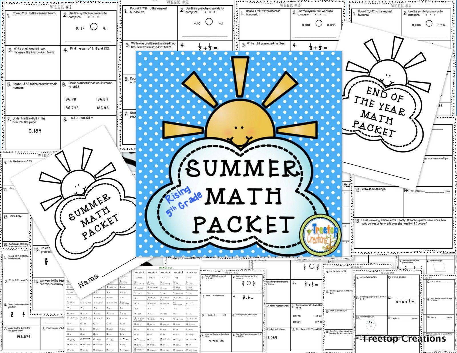 Summer Math Packet Rising 5th Grade