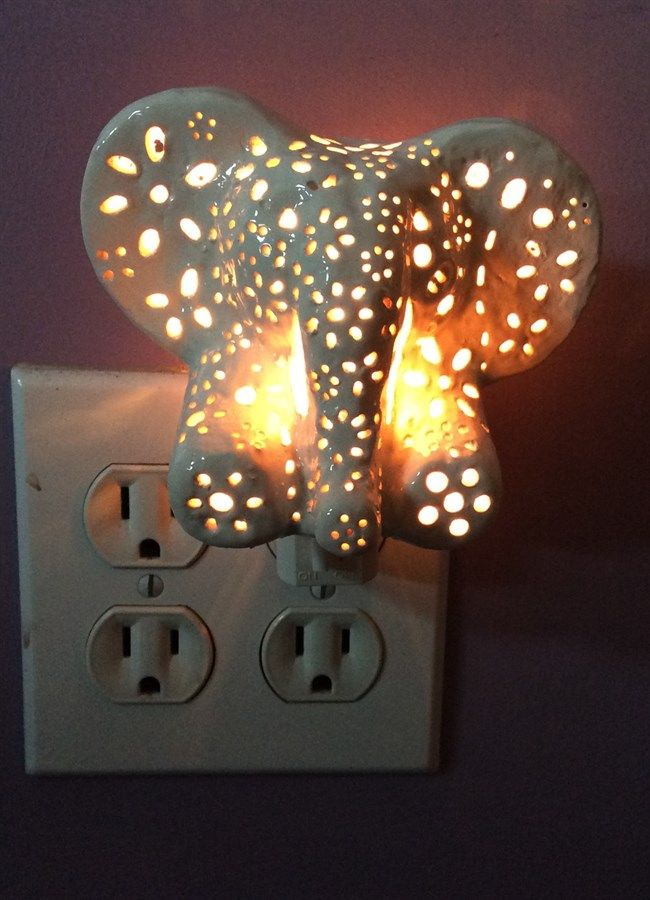 Ceramic Elephant Night Light  Room colors Hand carved and Children s