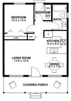 House Plan 99971 Cottage Vacation With 598 Sq Ft 1 Bedrooms