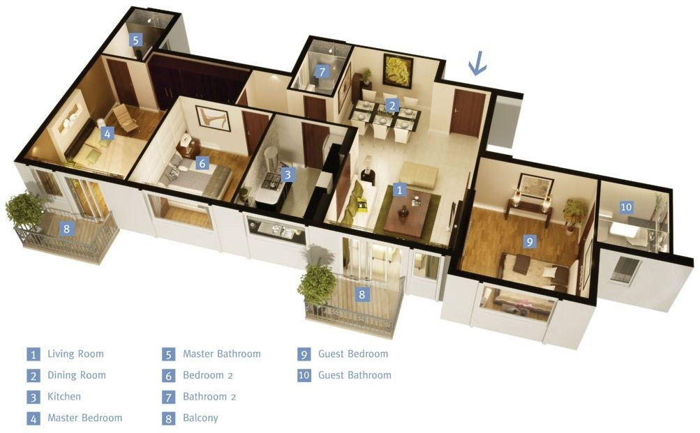 "50 Three ""3"" Bedroom Apartment House Plans Bedroom Apartment"