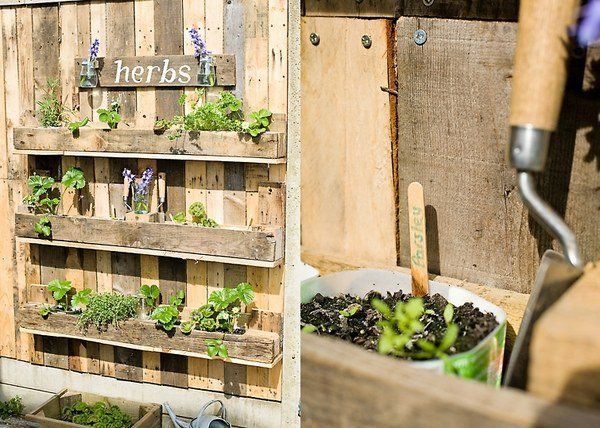 DIY Pallet Wood Herb Garden Recycled Pallet Ideas Shelves Garden