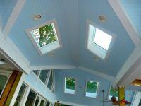 Vaulted ceiling, fan, skylight | Lake House Living Room ...