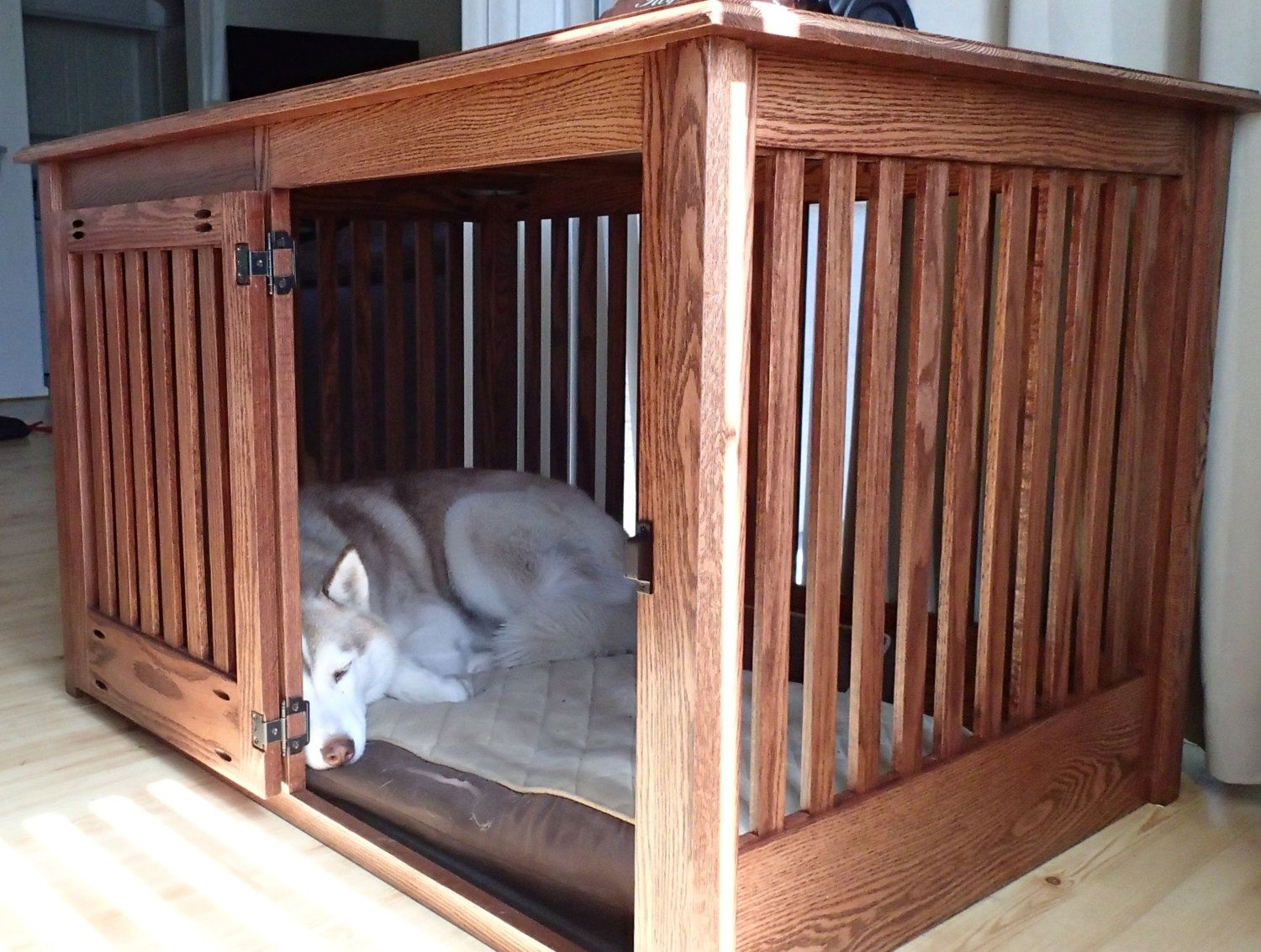 Extra Large Side Entry Oak Dog Crate Furniture by