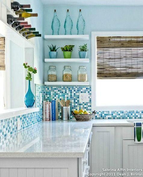 Coastal Kitchens With Ocean Blue Backsplash Tiles