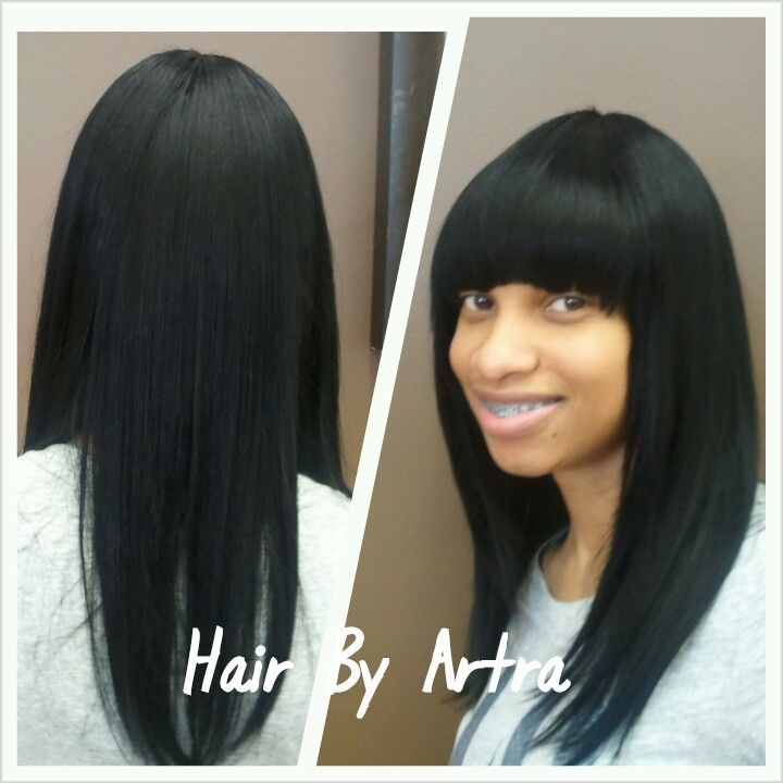 Basic Quick Weave With Chinese Bangs Hair Styles Artra Edwards