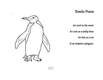 Simile Poem about Penguins for a Polar Animals Theme Week