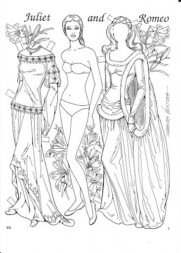 Romeo and Juliet Coloring Paper Dolls by Charles Ventura