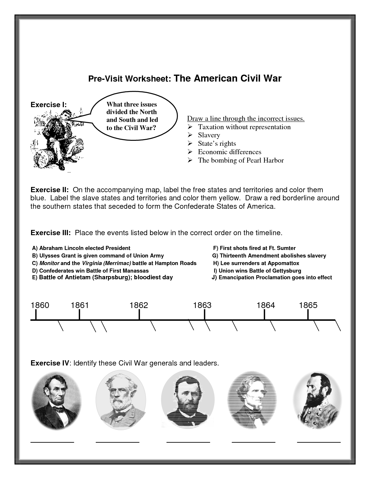 28 Civil War Leaders Worksheet