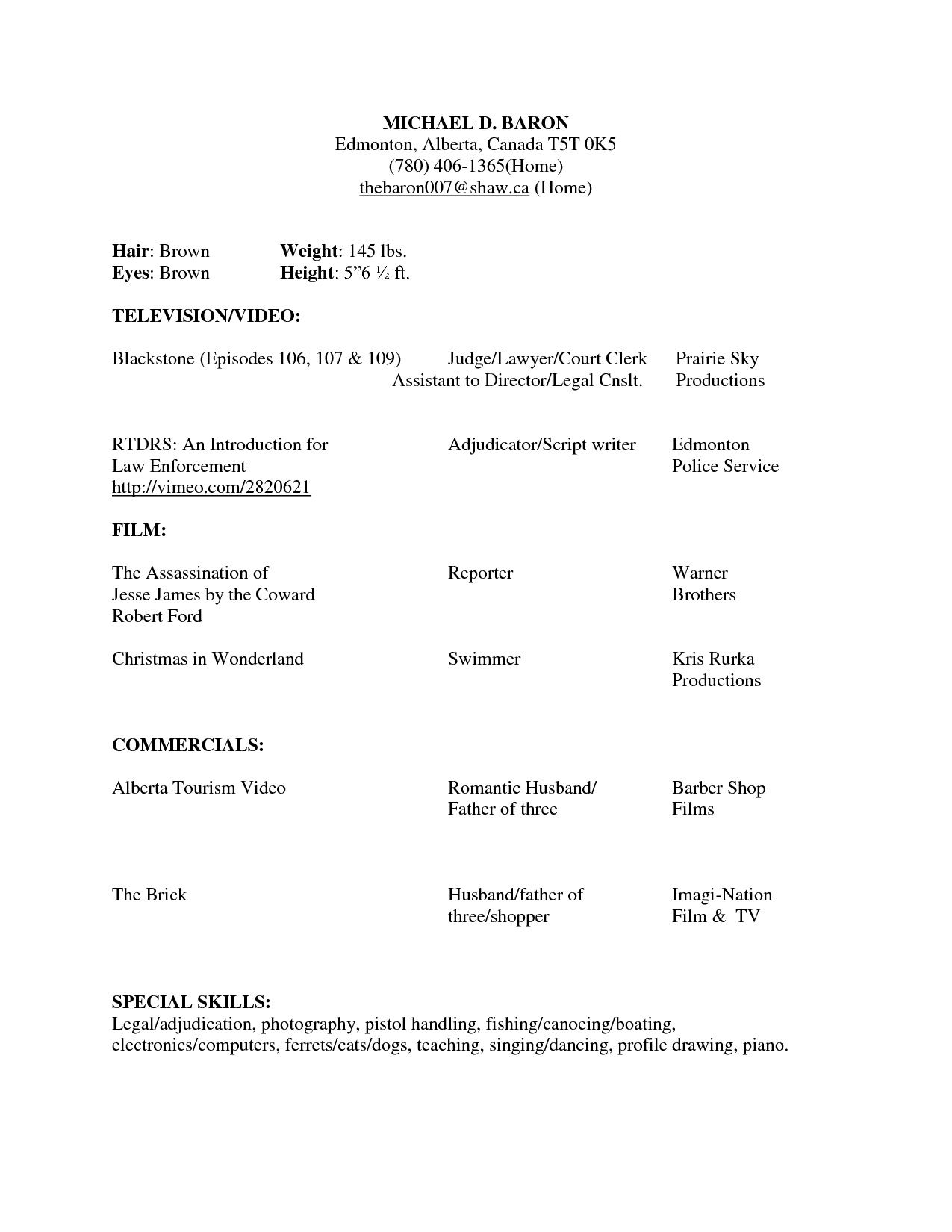 How To Write A Resume For Beginners Beginner Acting Resume Sample Beginner Acting Resume