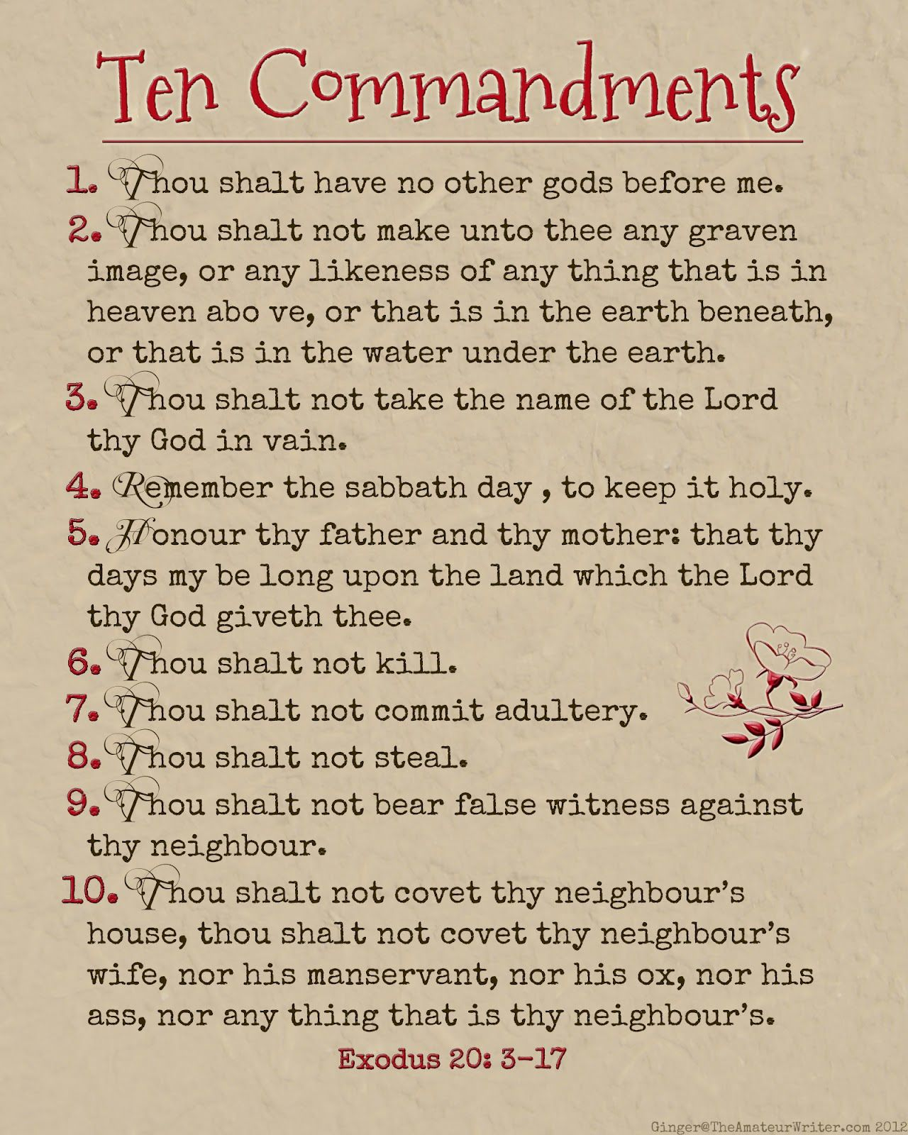 The Amateur Writer Ten Commandments Printable