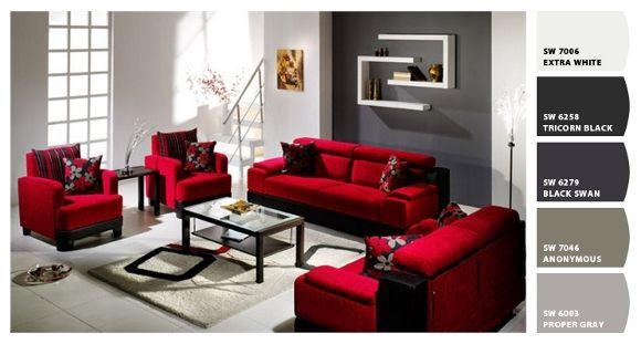 decoracion de salas con muebles rojos  Google Search