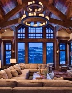 The most gorgeous living spaces in world exposed wood stone fireplaces and beams also rh pinterest