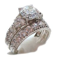 Antique Style White Gold Sterling Cz Wedding Engagement ...