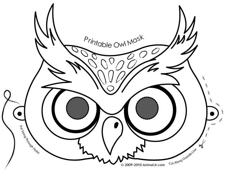 Owl activities: FREE printable Owl Mask Coloring Page