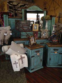 Beautiful Rustic Turquoise Bedroom Suite Furniture