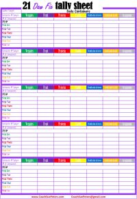 21 Day Fix Tally Sheets
