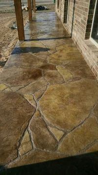 Stamped and stained concrete patio in flagstone ...