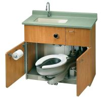 Compact toilet and sink for camper